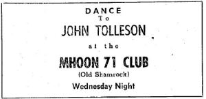 A 1960 ad for a John Tolleson, who performed in the area throughout the late 1950s and early 1960s.